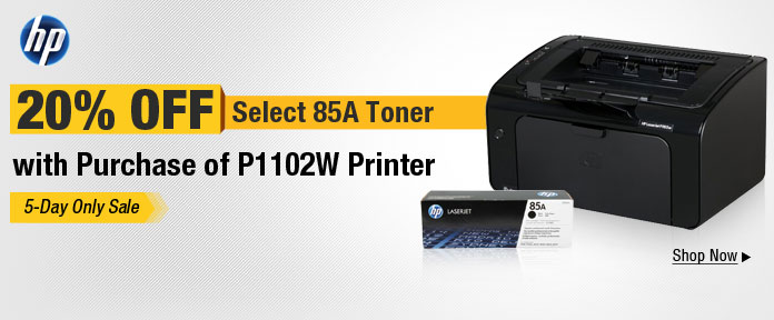 HP 20% off 85A w/Purchase of P1102W Printer