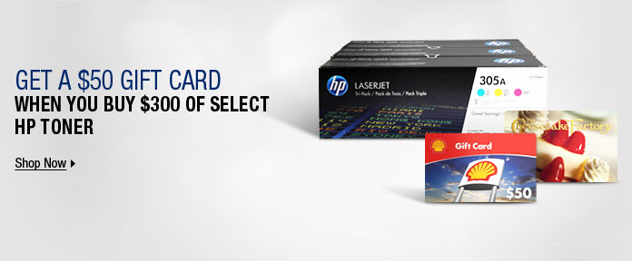 Get a $50 Gift Card When You Buy $300 of Select HP Toner