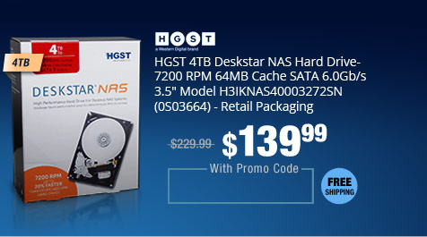 "HGST 4TB Deskstar NAS Hard Drive- 7200 RPM 64MB Cache SATA 6.0Gb/s 3.5"" Model H3IKNAS40003272SN (0S03664) - Retail Packaging"