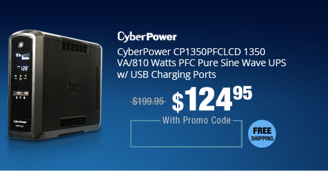 CyberPower CP1350PFCLCD 1350 VA/810 Watts PFC Pure Sine Wave UPS w/ USB Charging Ports
