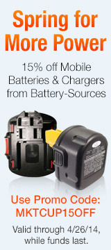 15% off Mobile Batteries & Chargers from Battery-Sources