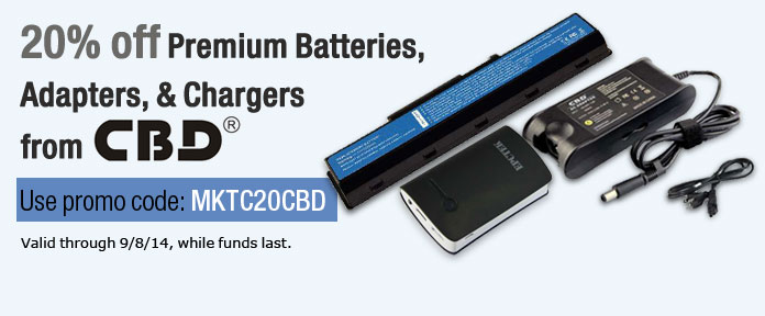 20% off Premium Batteries, Adapters, & Chargers from CBD