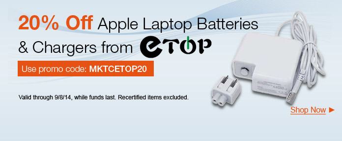 20% off Apple Laptop Batteries & Chargers