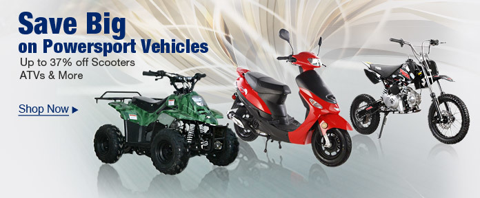 Save Big on Powersport Vehicles Up to 37% off Scooters ATVs & MORE