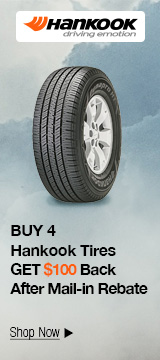 Buy 4 select Hankook tires get $100 back after mail-in rebate