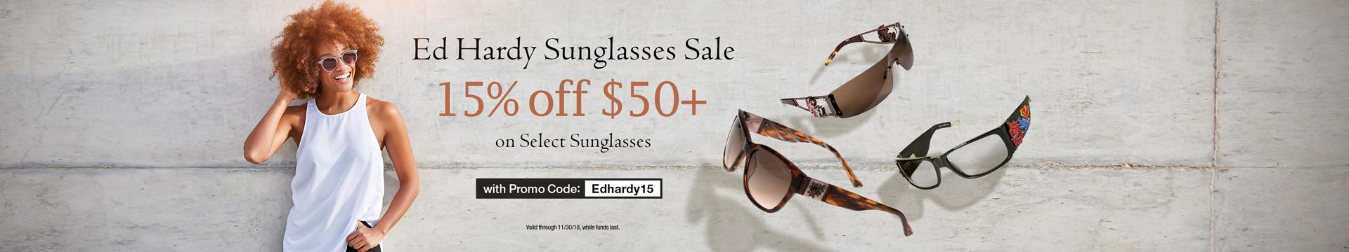 15% off $50+ on Select Sunglass