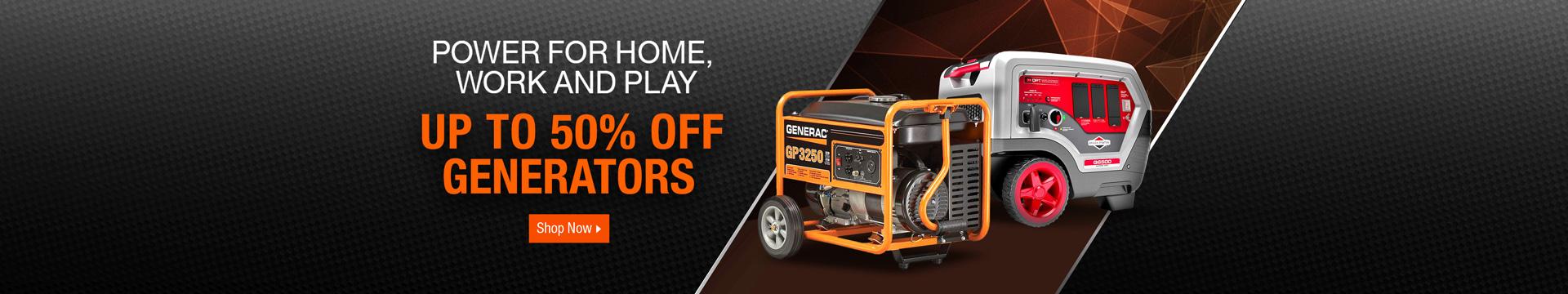 Up to 50% off Generators
