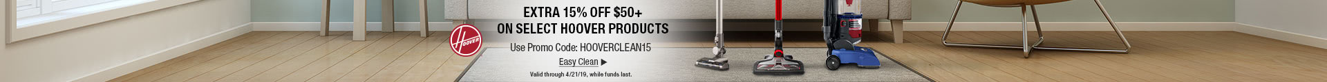 15% off $50+ on select Hoover products