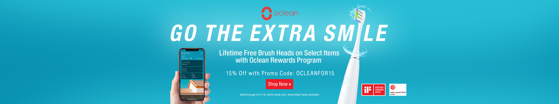15% off Oclean Toothbrushes with Promo Code