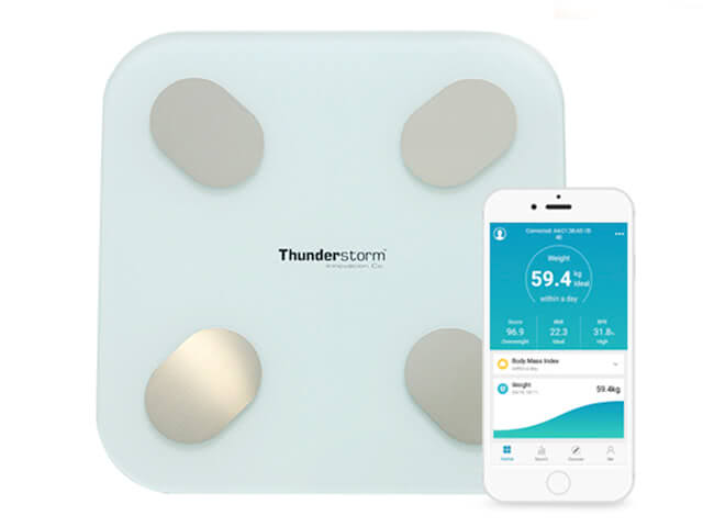 Thunderstorm Bluetooth Body Fat Digital Scale, fat ratio, bone mass, BMI, BMR, muscle weight and protein rate