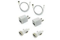 iPhone 5 Lighting USB Cables, AC Chargers, Car Chargers (2 Pack)