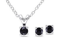 2pcs Set of 1/2ct TDW Black Diamond Solitaire Earrings & Pendant w/Chain Silver