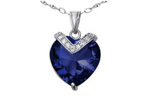 Mabella 10.84 cttw .925 Sterling Silver Heart Cut 15mm Created Blue Sapphire Pendant
