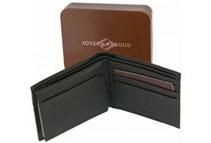 Joseph Abboud Mens Pebble Grain Leather Passcase Wallet - Black