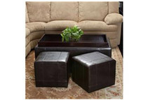 2-Pc Leather Espresso Brown Ottoman Set