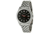 Seiko Men's Black Dial Stainless Steel Analog Quartz Watch