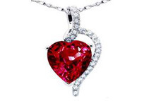 Mabella 4.10 cttw Heart Shaped Ruby Sterling Silver Pendant with 18 Chain