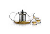 Teaology Infuso Borosilicate Glass Teapot & 4 Cups Set