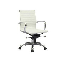 Modern White Ribbed Mid Back Leather Office Chair