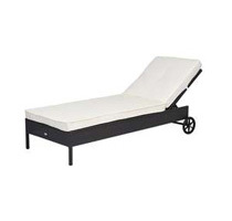 Outsunny Adjustable Outdoor Rattan Lounge Chair w/ Cushion