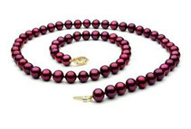 Cranberry Red Freshwater 18inch Pearl Necklace - 8mm, AAA, 14k