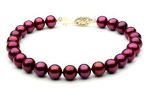 Cranberry Red Freshwater Pearl Bracelet - 7 1/2inch 8mm AAA 14k