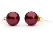 Cranberry Red Freshwater Pearl Earrings - 8mm AAA 14k Gold