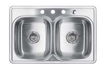 33 x 22inch Stainless Steel Top Mount Drop In Double Kitchen Sink w/ Strainer