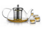 Teaology Infuso Borosilicate Glass Teapot and Cups Set