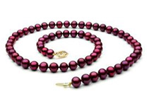 Cranberry Freshwater Pearl Necklace - 8mm, 14K Gold Clasp, AAA, 18inch