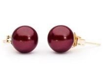 Cranberry Freshwater Pearl Earrings - 8mm, AAA Quality, 14K Gold