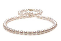 White Freshwater Pearl Necklace -7-8mm, AA+ Quality, 14K Gold, 18inch