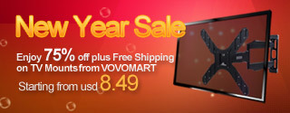 New Year Sale Enjoy 75% off plus Free Shipping on TV Mounts from VOVOMART