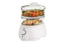 Rival Dual-Tiered Mini Food Steamer with Timer, White