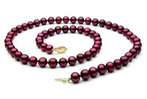 Cranberry Freshwater Pearl Necklace - 18inch, 8mm, AAA, 14k
