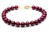 Cranberry Red Freshwater Pearl Bracelet - 7 1/2inch, 8mm, AAA, 14k