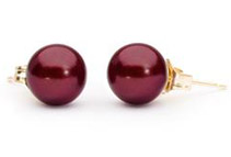 Cranberry Freshwater Pearl Earrings - 8mm AAA 14k Gold