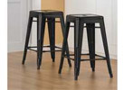 Tabouret 24inch Black Metal Counter Stools, Set of 2