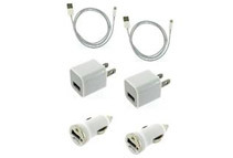iPhone 5 Lightning 8-Pin USB Charger Cable + Car Charger + Wall Adapter (2-Pack)