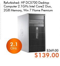 Refurbished: HP DC5700 Desktop Computer - 2.1GHz Intel Core2 Duo, 2GB Memory, Win 7 Home Premium