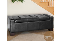 Christopher Knight Home Guernsey Black Leather Storage Ottoman