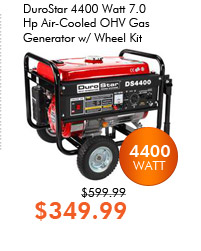 DuroStar 4400 Watt 7.0 Hp Air-Cooled OHV Gas Generator w/ Wheel Kit