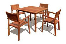 5-Pc. Outdoor Stackable Chairs Dining Set