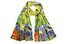 00% Satin Charmeuse Silk Van Gogh's Irises Long Scarf Shawl