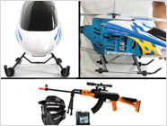 Whimsical toy 'copters, airsoft snipers, and easy-bake ovens