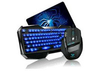 AULA Blue LED Backlight Multimedia USB Gaming Keyboard Accessories Set
