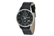 Skagen Men's Black Dial Chronograph With Black Leather Band Watch