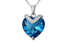 Mabella 10.84 cttw Sterling Silver Heart Cut Created Blue Topaz Pendant w/ 18inch Necklace