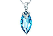 Mabella 7.96 cttw Sterling Silver Marquise Cut Created Topaz Pendant w/ 18inch Necklace