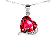 Mabella 6.06 ct.tw. Sterling Silver Heart Cut Created Ruby Pendant with 18inch Necklace